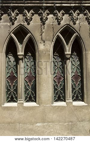 Stained glass window in the old church on the outside