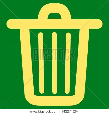 Trash Can glyph icon. Style is contour flat icon symbol, yellow color, green background.