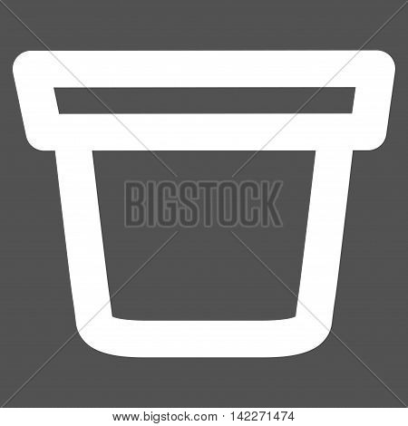Pail glyph icon. Style is contour flat icon symbol, white color, gray background.