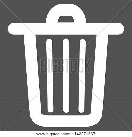 Trash Can glyph icon. Style is stroke flat icon symbol, white color, gray background.