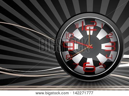 Illustration of Black watches with checkered design background
