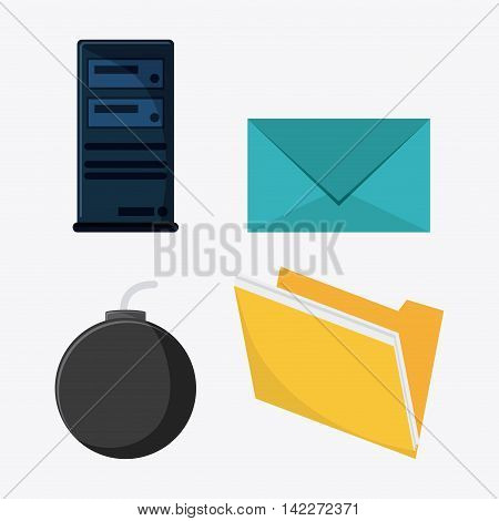file bomb envelope cyber security system protection icon. Colorfull illustration. Vector graphic