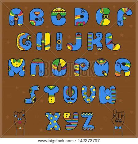 Artistic blue and yellow alphabet. Brown background. Cartoon hands. Illustration