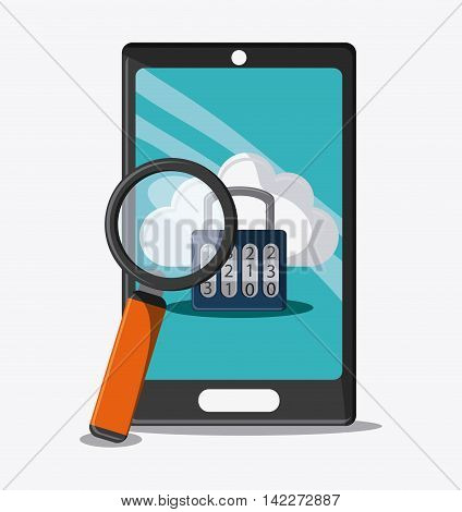 smartphone lupe padlock cloud cyber security system protection icon. Colorfull illustration. Vector graphic
