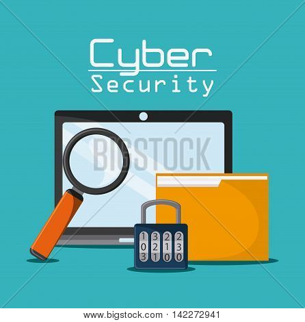laptop lupe padlock file cyber security system protection icon. Colorfull illustration. Vector graphic