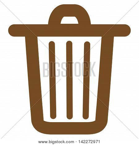 Trash Can glyph icon. Style is outline flat icon symbol, brown color, white background.