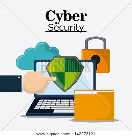 laptop file shield padlock cloud cyber security system protection icon. Colorfull illustration. Vector graphic