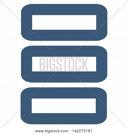 Database glyph icon. Style is contour flat icon symbol, blue color, white background.