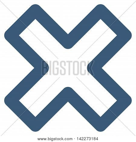 Delete X-Cross glyph icon. Style is stroke flat icon symbol, blue color, white background.