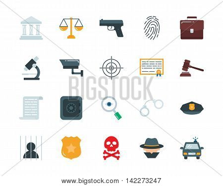 Crime and law colorful vector icons set flat style
