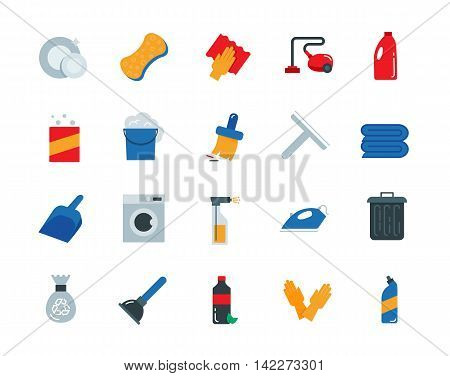 Cleaning colorful vector icons set flat style