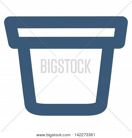 Pail glyph icon. Style is linear flat icon symbol, blue color, white background.