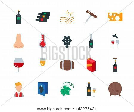 Wine colorful vector icons set flat style