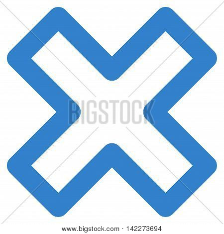Delete X-Cross glyph icon. Style is outline flat icon symbol, cobalt color, white background.