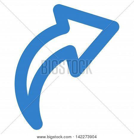 Redo glyph icon. Style is stroke flat icon symbol, cobalt color, white background.