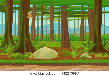 Cartoon classic forest woods landscape with trees, grass and stones. Mountains hills on the background. Landscape for game