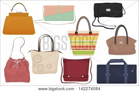 Woman fashion bags collection. Casual female handbag front isolated icons set