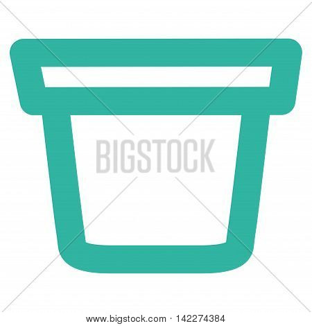 Pail glyph icon. Style is contour flat icon symbol, cyan color, white background.