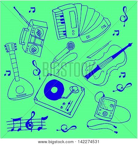 Stock collection music theme doodles vector illustration