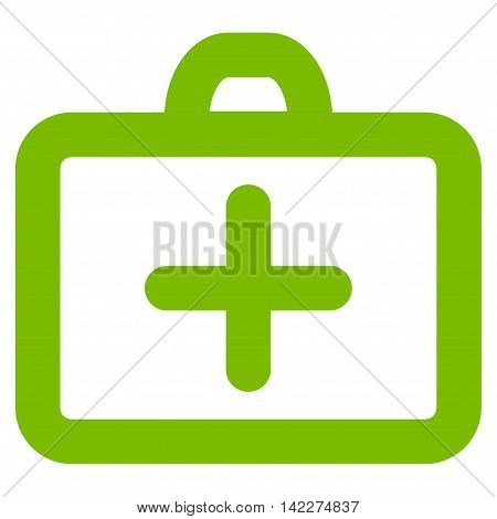 First Aid glyph icon. Style is stroke flat icon symbol, eco green color, white background.