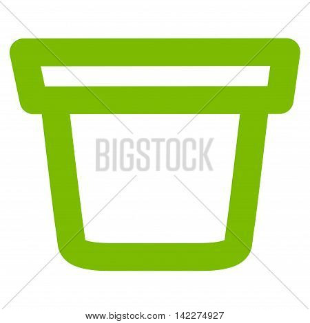 Pail glyph icon. Style is contour flat icon symbol, eco green color, white background.