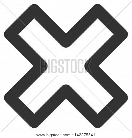 Delete X-Cross glyph icon. Style is outline flat icon symbol, gray color, white background.