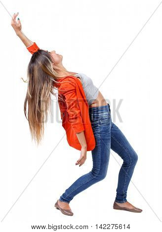 Balancing young woman.  or dodge falling woman. Rear view people collection.  backside view of person.  Isolated over white background. girl in a red jacket leaning back.