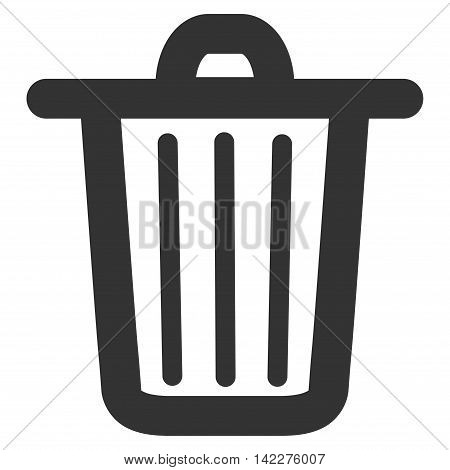 Trash Can glyph icon. Style is linear flat icon symbol, gray color, white background.
