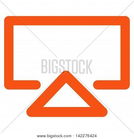 Data Entry glyph icon. Style is stroke flat icon symbol, orange color, white background.