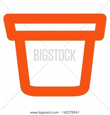 Pail glyph icon. Style is outline flat icon symbol, orange color, white background.