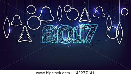 Christmas And Happy New Year 2017 Card With Shiny Balls