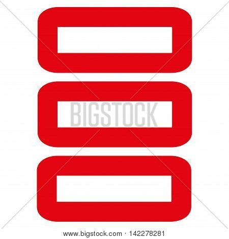 Database glyph icon. Style is linear flat icon symbol, red color, white background.