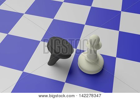 White Pawn Defeating Black Pawn On A Blue Chess Board 3d illustration