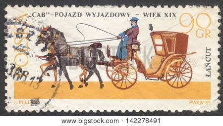 MOSCOW RUSSIA - CIRCA MAY 2016: a post stamp printed in POLAND shows a Cab coach the series