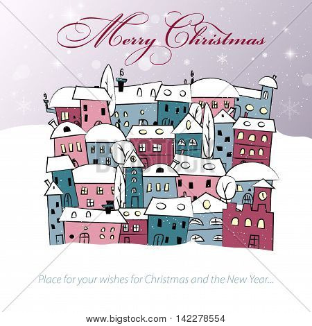 Merry Christmas card with abstract snowy village with place for your text - vector illustration