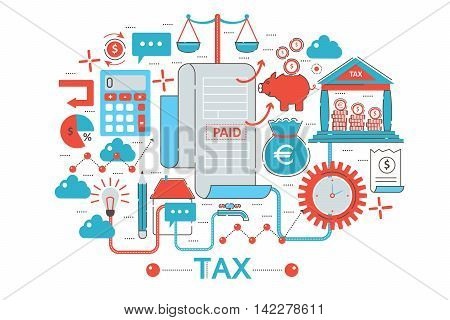 Modern Flat thin Line design Tax taxes concept for web banner website, presentation, flyer and poster