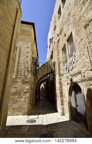 Narrow streets in Jewish Quarter of old Jerusalem Israel.