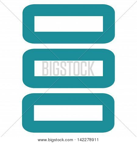 Database glyph icon. Style is stroke flat icon symbol, soft blue color, white background.