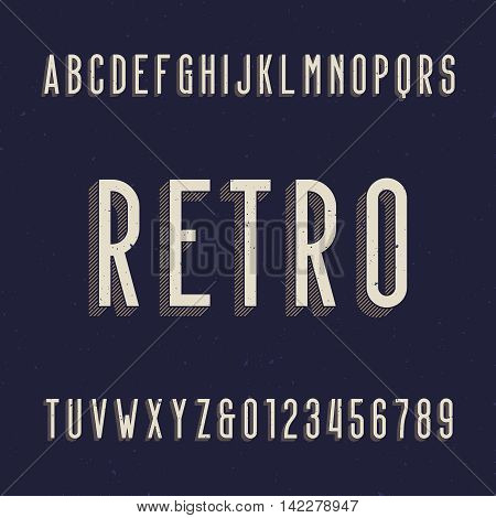 Retro alphabet font. Type letters and numbers. Vector typography for labels, titles, posters etc. Scratched background