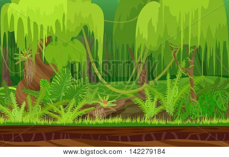 Cartoon color nature tropical rain forest landscape in sun day with grass, trees with liana. Vector game style illustration. Background for games