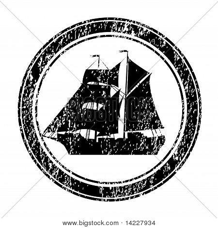 Black Rubber Stamp With Brigantine