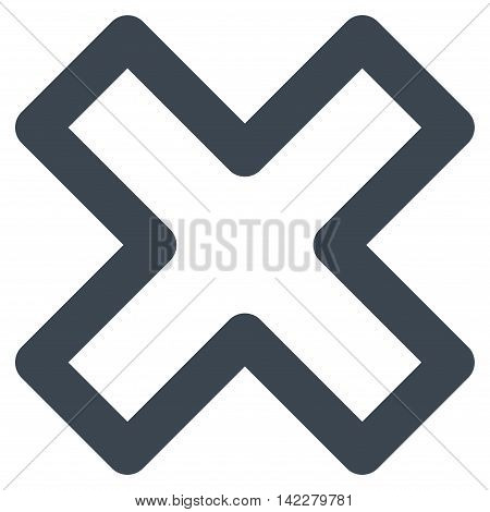 Delete X-Cross glyph icon. Style is outline flat icon symbol, smooth blue color, white background.