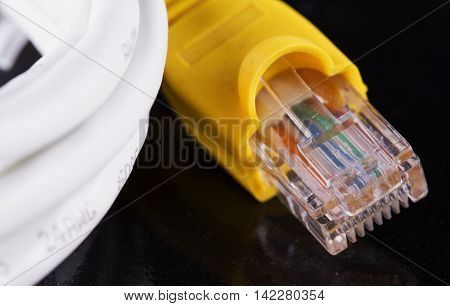 Lan Cable Over Black