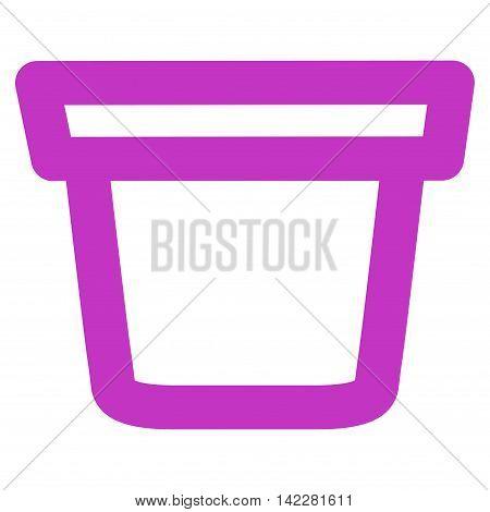 Pail glyph icon. Style is contour flat icon symbol, violet color, white background.
