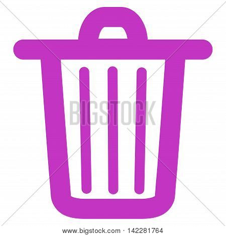 Trash Can glyph icon. Style is contour flat icon symbol, violet color, white background.