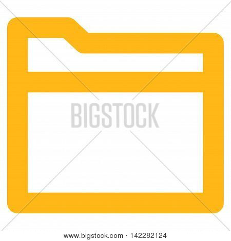 Folder glyph icon. Style is contour flat icon symbol, yellow color, white background.