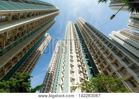 Residential building in Hong Kong form low angle