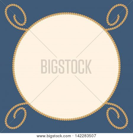 Round marine ropes frame for text. Symbol graphic with string and cable, vector illustration