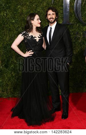 NEW YORK-JUN 7: Actress Cat Dennings (L) and singer Josh Groban attend American Theatre Wing's 69th Annual Tony Awards at Radio City Music Hall on June 7, 2015 in New York City.
