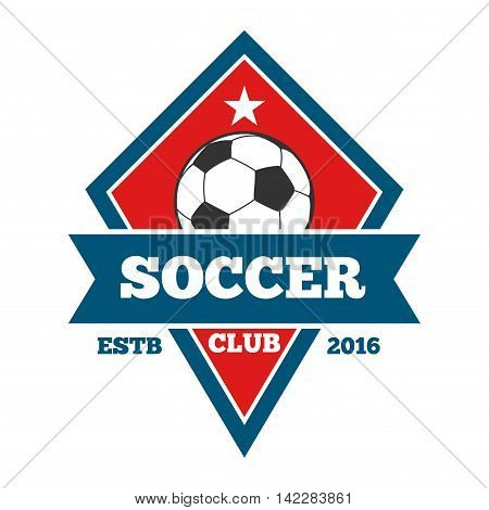 Vector soccer logo, badge, emblem template in red and blue. Football badge and banner illustration